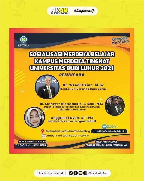 Sosialisasi Merdeka Belajar Kampus Merdeka Tingkat Universitas Budi Luhur 2021
