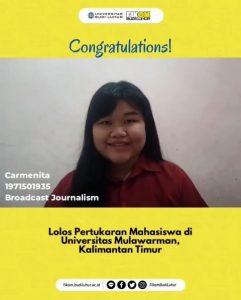 Selamat Kepada Mahasiswa FIKOM Budi Luhur yang Lolos Program Pertukaran Mahasiswa di Universitas Mulawarman