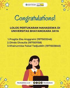 Yeay! Selamat Kepada Mahasiswa FIKOM Budi Luhur yang Lolos Program Pertukaran Mahasiswa di Universitas Bhayangkara Jaya