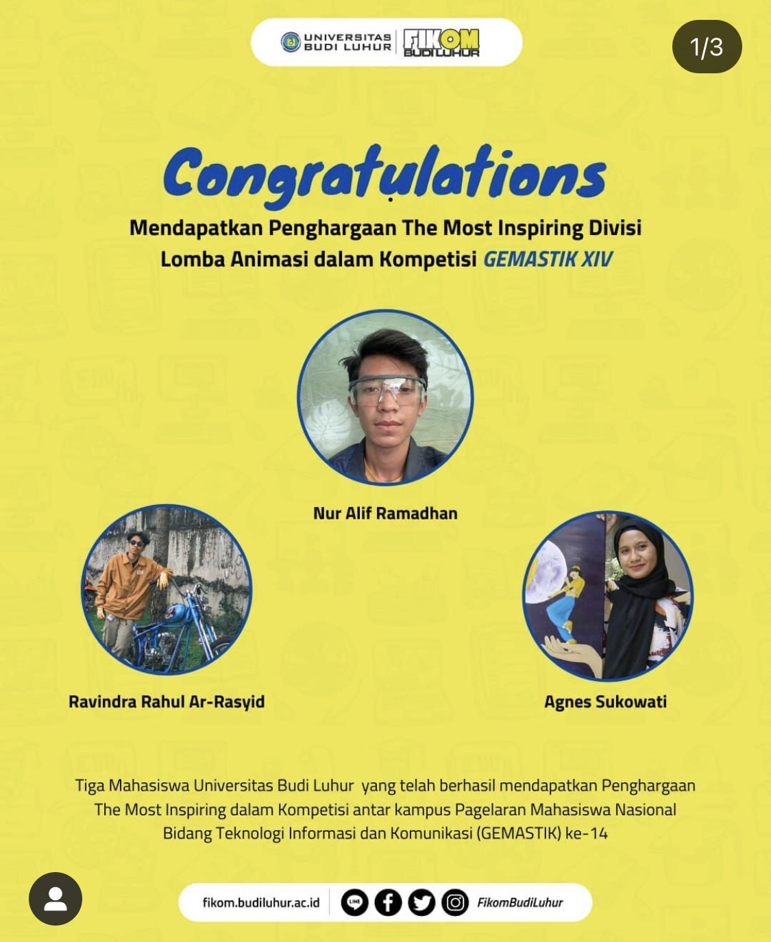 Selamat Tim Mahasiswa Fikom Atas Penghargaan di Lomba Gemastik XIV